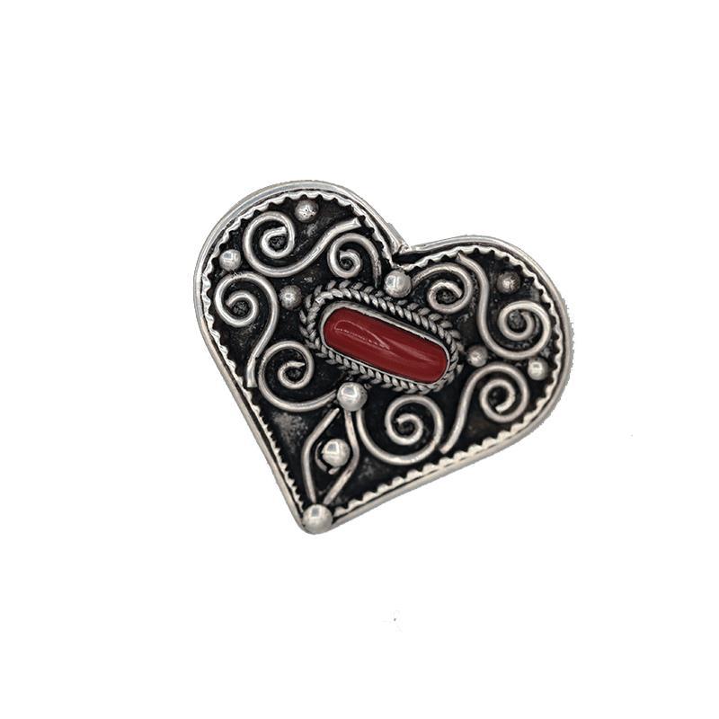 52557efc43af Phoenix Import   Botón corazón decorado plata coral -- 9 g