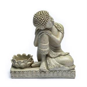 Buddha with candleholder grey colour -- 17.5 cm
